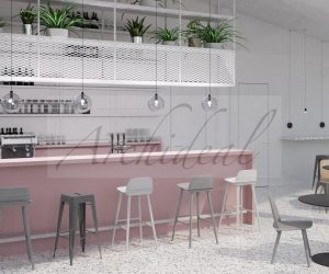 pink commercial cafeteria