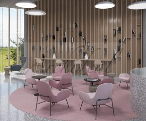 productive and relaxing library in pink